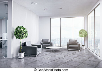 New office interior with decorative plants and city view....