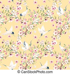 Watercolor crane with flowers vector pattern - Beautiful...