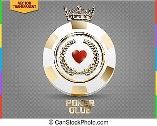 VIP poker luxury white and golden chip vector. Royal poker club casino emblem with crown, laurel wreath and spades isolated on transparent background