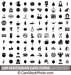 100 vegetarian cafe icons set in simple style for any design...