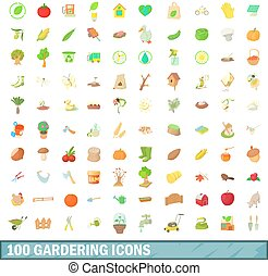 100 gardering icons set, cartoon style - 100 gardering icons...