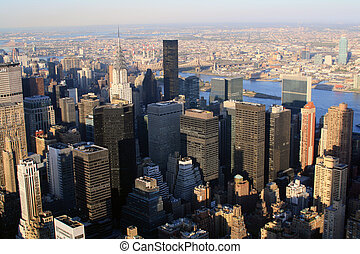 the NYC - Overhead view of buildings in Midtown Manhattan in...