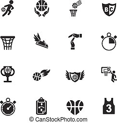 basketball icon set web icons for user interface design