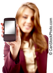 Businesswoman presenting PDA or smartphone - Young...