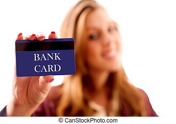 Businesswoman with bank card - Businesswoman holding a...