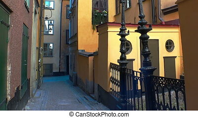 Ancient narrow street in central Stockholm. Old town....