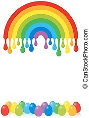 Easter Egg Dyeing Rainbow Colors - Rainbow with color drops...