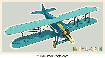 Blue biplane in vintage and color stylization. Model aircraft propeller.