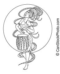 African woman playing drum coloring book vector - African...
