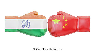 Boxing gloves with India and China flags. Governments...