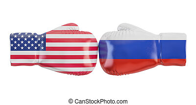 Boxing gloves with USA and Russia flag. Governments conflict...