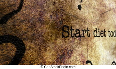 Start diet today grunge concept