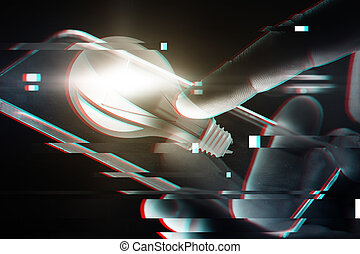 hands with smartphone and lightbulb projection - business,...
