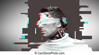 man with futuristic glasses and sensors - people,...