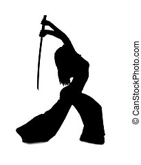 Silhouette of woman with a Japanese sword on a white...