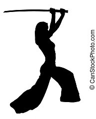 Silhouette of woman with a Japanese sword