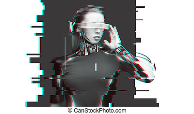 woman cyborg with futuristic glasses and sensors - people,...