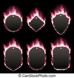 Set of six frames surrounded with red lame - Set of six...