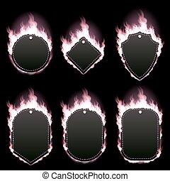 Set of six frames surrounded with pink flame - Set of six...