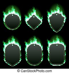 Set of six frames surrounded with green flame - Set of six...