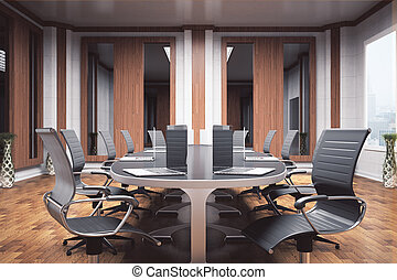 Boardroom interior - Side view of luxurious boardroom with...