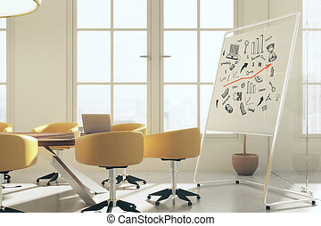 Meeting room with business sketch - Modern...
