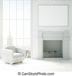 Cozy interior with fireplace - Vertical image of cozy...