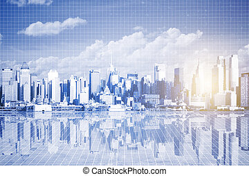 Urbanization concept - Abstract city with reflection, sky...