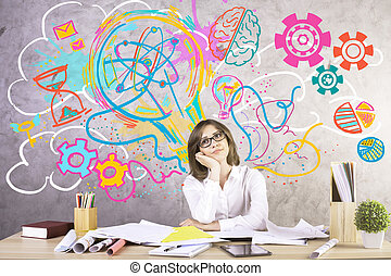 Woman generating creative ideas - Attractive young woman at...