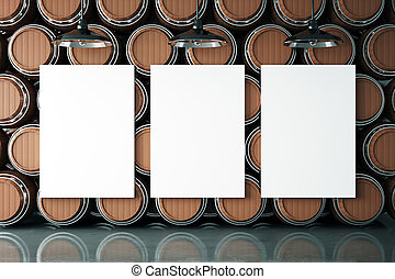 Winery with three posters - Dark wooden wine barrels stacked...