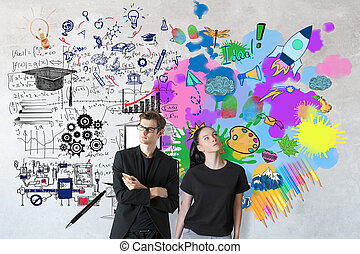 Creative and analytical thinking concept. Attractive young...