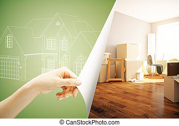 Real estate concept - Female hand flipping abstract green...