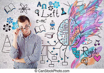 Creative and analytical thinking concept - Thoughtful...