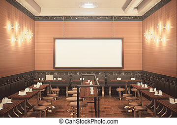 Classic bar with blank billboard front - Front view of...