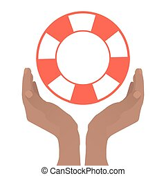 Hands folded with a boat to hold a lifebuoy