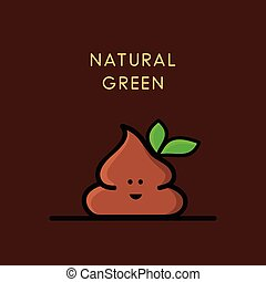 Natural green - funny poop with leaves - Funny happy poop or...