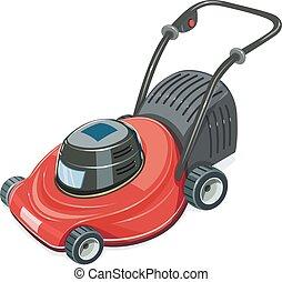 Lawn mower. Garden tool. - Lawn mower. Grass-cutter. Garden...