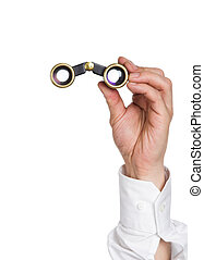 The lorgnette - Opera glasses in hands of the spectator