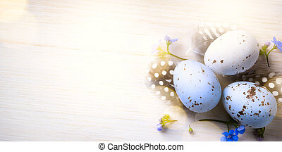 Happy Easter day; Holidays background with Easter eggs and...