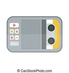Tape recorder or dictaphone icon isolated on white vector...
