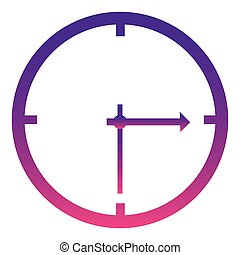 purple wall clock icon, vector illustraction design image