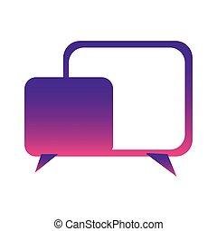 purple square chat bubbles icon, vector illustraction design