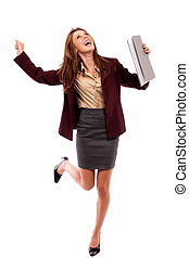 Happy businesswoman isolated on white
