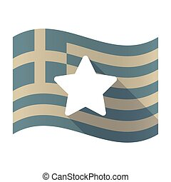 Long shadow Greece flag with a star