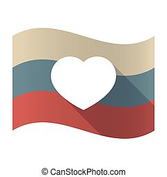 Long shadow Russia flag with a heart