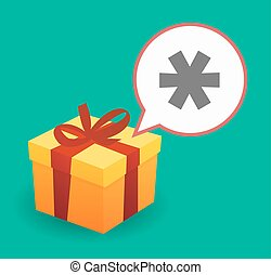 Present with an asterisk - Illustration of a present with a...
