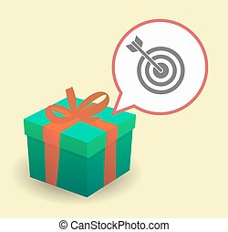 Present with a dart board - Illustration of a present with a...