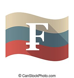 Long shadow Russia flag with a swiss franc sign -...