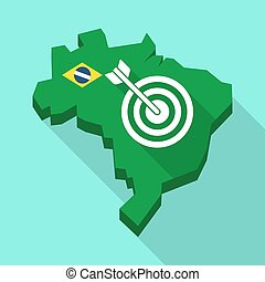 Long shadow map of Brazil with a dart board - Illustration...