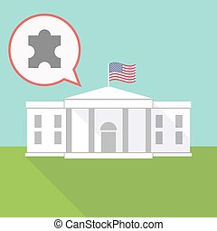 the White House with a balloon and a puzzle piece